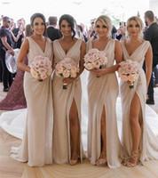 Wholesale champagne beach wedding dresses for sale - 2019 V Neck Chiffon Mermaid Long Cheap Bridesmaids Dresses Ruched Split Summer Beach Wedding Guest Plus Size Maid of Honor Dresses BM0203