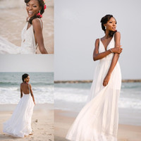 Wholesale cheap beach wedding dresses online - Simple Beach Wedding Dresses Summer Spaghetti Sexy Deep V Neck Bridal Gowns Backless Chiffon Lace Appliques Cheap Wedding Gowns