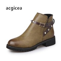 Wholesale thick heel boot shoes online - Designer Dress Shoes Martin boots female spring and autumn new round head wild solid color thick with simple and comfortable n173