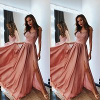 Wholesale petite bridesmaid dresses elegant online - glamorous rose pink prom dresses a line spaghetti straps lace floor length elegant formal evening gowns left slits long chiffon bridesmaid