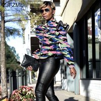 Wholesale front stand online - Camouflage Print Sexy Slim Coat Women Stand Collar Ruffles Long Sleeve Bandage Jacket Streetwear Front Zipper Large Size Outwear