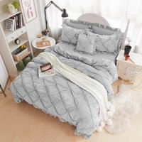 Wholesale grey modern bedding for sale - Fleece pleated winter bedding set full queen king size grey blue beige purple bed sheets bed skirt duvet cover set pillowcase