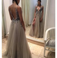 Wholesale plus side bridal party dresses for sale - Gray Dark V Neck Pageant Evening Dresses Women s Sexy Side Split Backless Bridal Gown Special Occasion Prom Bridesmaid Party Dress