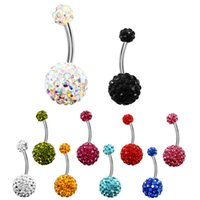 Wholesale body jewelry for sale - 9 Colors Crystal Disco Ball L Stainless Steel Jewelry Navel Bars Silver Belly Button Ring Navel Body Piercing Jewelry