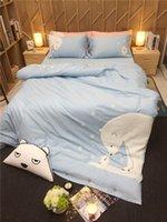 Wholesale modern girl bedding online - Adults kids girls cartoon bear bedding set king queen twin size bed linen set pink blue cotton duvet cover bedclothes