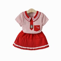 Wholesale cute baby girl clothes summer wear for sale - School Baby girls boy formal outfits red strip girl suit shirt with tie and grid shorts boys formal wear clothing set styles offer choose