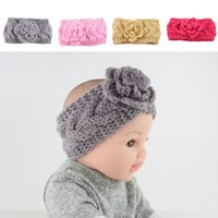 Wholesale New Children Knitted Headband Girls Sweet Camellia Twist Hair Band Woven Headdress Wool Baby Headbands Styles Warm Hair Accessories M21F