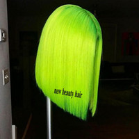 Wholesale red black human hair wigs for sale - Fluorescent Green Short simulation Human Hair Wigs Red Blue Black Green Purple Pink Wig Ombre synthetic Lace Front Wig for women