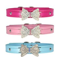 Wholesale bling pet dog online - Rhinestone Bling Bow Tie Dog Collar Pet Bowknot Necklace Fashion Lovely Diamond Dog Cat Necklace Puppy Kitten Teddy Collars