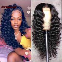 Wholesale red black human hair wigs online - Long natural glueless simulation Lace Front Human Hair Wigs deep Wave Wig For Women Natural Black x4 Lace Frontal Wig synthetic hair