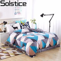 Wholesale boys queen sized bedding online - Solstice Home Textile Cotton Colored Rhombus Girls boys Bedding Set Bed Linen Kids Duvet Cover Sets Twin Full Queen King Size