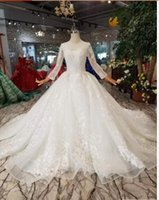 Wholesale plus side bridal party dresses for sale - Nature White Lace Appliques Ball Gown Crystals Beads Wedding Dresses Long Sleeves Bridal Dresses Custom Made Wedding Gownsu11