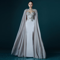 Wholesale red flowing evening dress for sale - New Elegant Gray Chiffon Long Cloak Lace Appliques Straight Evening Dress Vestidos Prom Lady Maxi Gown Flowing Event Celebrity Long Dresses