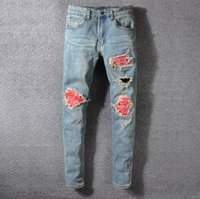 Wholesale black ripped skinny jeans plus size online - New Fashion Mens Designer Brand Black Jeans Skinny Ripped Destroyed Stretch Slim Fit Hop Hop Pants With Holes For Men