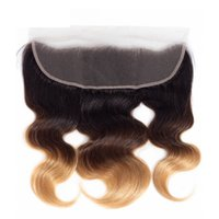 Wholesale lace frontal online - 13x4 Ear To Ear Lace Frontal Body Wave Ombre b Color Human Hair Closure with Baby Hair
