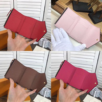 Wholesale vintage boxed christmas cards for sale - luxury brand real leather multicolor coin purse date code short wallet Card holder original box women man classic zipper pocket