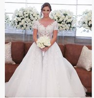 Wholesale sexy wedding dress real for sale - Hot Sell Jewel White A Line Sweep Train Lace Applique Short Sleeves Custom Made Beautiful Fashion Sexy Wedding Dress
