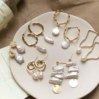 Wholesale square metal studs online - AOMU Korea Design Metal Gold Geometric Irregular Circle Square Natural Freshwater Pearl Stud Earrings for Women Girl Gift