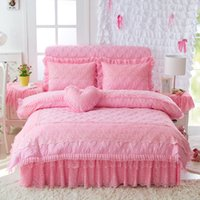 Wholesale princess girl bedding online - Princess Korean queen king size Bedding set pink purple lace quilted cotton duvet cover set girls bed skirt pillowcase