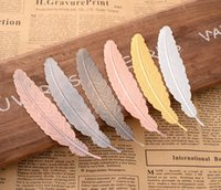 Wholesale 7 Colors Metal Feather Bookmark Document Book Mark Label Golden Silver Rose Gold Bookmark Office School Supplies SN2685