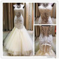Wholesale sexy wedding dresses online - Lace See Through Wedding Dresses Sexy Sweetheart Mermaid Bridal Gowns Lace Up Back Tiered Tulle Sweep Train Wedding Dress Custom Made