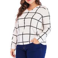 Wholesale big sizes womens clothing online - Women Plus Size XL Plaid Chiffon Tshirt Spring Long Sleeve V neck Womens Casual Tops Shirt Big Size Fashion Ladies Clothing