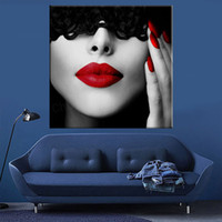 Wholesale lips wall for sale - lace Sexy lady dress up red Lips Prints Painting print poster Pieces canvas painting pictures for living room wall art