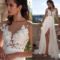 Wholesale cheap wedding dresses online - 2019 Cheap Sexy Beach Wedding Dresses Bohemian Sheer Neck High Side Split Chiffon Lace Applique Wedding Dress Bridal Gowns