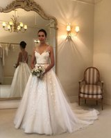 Wholesale wedding dress for sale - V Neck Sweep Train Applique Lace A Line Beaded Backless Wedding Dresses Custom Made Vintage Wedding Gowns
