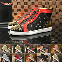 Wholesale men dress shoes online - 2019 Newest Luxury Designer Red Bottoms Men Women Shoes Fashion Suede With Spikes Loafers Rivets Designer Casual Dress Sneakers Soles Boots