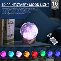 Wholesale 3D Print Star Moon Lamp Colorful Color Change Touch Switch Night Light