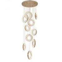 Wholesale 25 light staircase chandelier online - Luxury Modern LED Crystal Chandelier Lighting Long Staircase Hanging Crystal Lamp Rings AC110 V for Living room Lobby