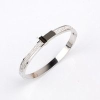 Wholesale Amazing Quality Luxury Designer Jewelry Women Bracelets Stainless Steel Tone Bangle Pave Shiny Crystal Bracelet Color No Fade
