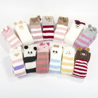 Wholesale stockings for sale - New Winter Cotton Stocking Women Cute D Cartoon Animals Stripe Thigh Elastic Stockings Over Knee High Long Fancy Coral Fleece