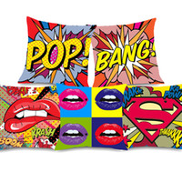 Wholesale lips wow for sale - 7 Styles American Modern POP Art Cushion Covers POP BANG WOW POW Lips Cushion Cover Decorative Soft Pillow Case For Bedroom Sofa Couch