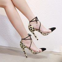 Wholesale transparent fashion shoes online - Dress Muqgew Fashion Leopard High Heel Single Shoes For Women Lace up Pointed Toe Ladies Transparent Stiletto Sandals Salto Alto Femin