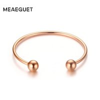 Wholesale bangle bracelets for women Meaeguet Rose Gold Color Unique Open Bangle Bracelets For Women High Polished Pulseiras Jewelry