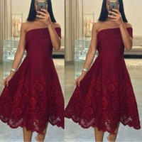 Wholesale african bridesmaids online - Burgundy Short Bridesmaid Dresses One Shoulder Lace Appliques Maid Of Honor Gowns Tea Length African Women Prom Evening Dress Cheap