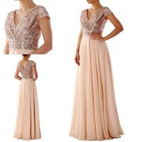 Wholesale party wedding floor long bridesmaid dresses for sale - 2019 Gold Sequin Chiffon Modest Bridesmaid Dresses Cap Sleeves V Neck Short Sleeves Floor Length Custom Wedding Guests Dress Party Dress