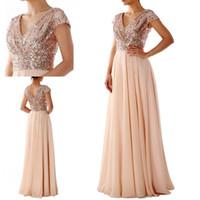 Wholesale line sequin wedding dresses for sale - 2019 Gold Sequin Chiffon Modest Bridesmaid Dresses Cap Sleeves V Neck Short Sleeves Floor Length Custom Wedding Guests Dress Party Dress