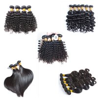 Wholesale black curly weave hair extensions for sale - 6A Unprocessed Brazilian Virgin Hair Body Loose Deep Wave Curly Straight Hair Weave Extensions Natural Color