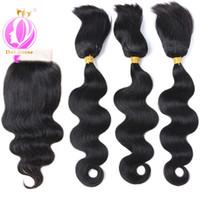 Wholesale human hair extensions braids online - Doheroine New arrival Body Wave Human Hair Bundles Braid In Human Hair Bundles With Lace Closure Brazilian Virgin Hair Extension