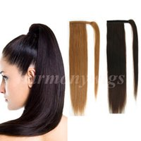 Wholesale ponytails online - Top quality Human Hair ponytail inch g Dark Brown Double Drawn Brazilian Malaysian Indian hair extensions More colors