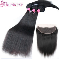 Wholesale human hair extensions braids for sale - Fairgreat Braid In human hair Bundles Straight Body Wave Human Hair bundles with lace frontal Brazilian Virgin Hair Extensions