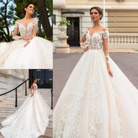 Wholesale sexy open back wedding dresses online - Lace Applique Wedding Gowns Open Back Long Sleeve Bridal Dress A Line Court Train Plus Size Wedding Dresses