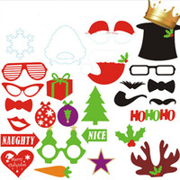 Wholesale fake beard sets for sale - set set Christmas Photo Booth Props Fake Beard Glasses Lips Hat On a Stick For Xmas Party Favor Supplies