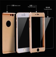 Wholesale iphone 5s glass screen protector gold online - 360 Degree Full Body Covered Ultra thin Hard PC Cases With free Tempered Glass Screen Protector film back Cover for iPhone s plus S S6