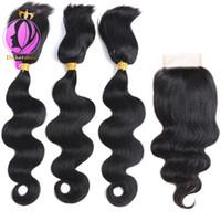 Wholesale human hair extensions braids online - Doheroine Braid In Human Hair Bundles Body Wave Straight Human Hair Bundles With Lace Closure Brazilian Virgin Hair Extension