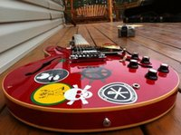 Wholesale guitar neck inlays online - Custom Alvin Lee Big Red Semi Hollow Electric Guitar s block inlay neck an added pickup in the center position Black Pickguard