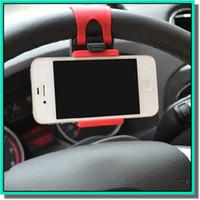 Wholesale mobile phone car holder iphone online - Universal Car Streeling Steering Wheel Cradle Holder SMART Clip Car Bike Mount for smart mobile samsung Cell Phone GPS holder with retail